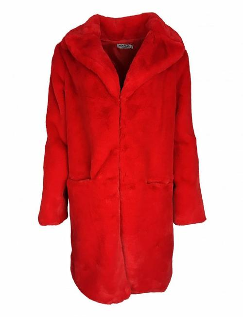 Faux You Fluff Coat - Red