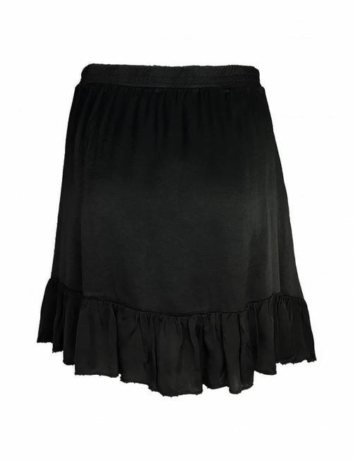 Fringe Silky Skirt Black