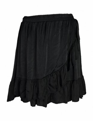 Fringe Silky Skirt Black