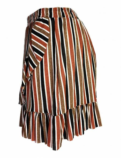 Fringe Glittery Autumn-Striped Skirt