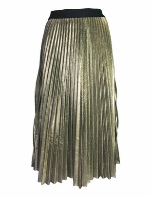 Pleated Shiny Skirt Gold
