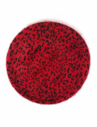 Wool Beret Leopard Red