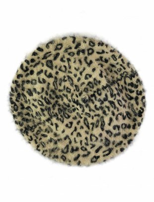 Wool Beret Leopard Creme