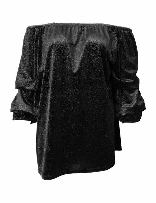 Off-Shoulder Glittery Waterfall Top Black