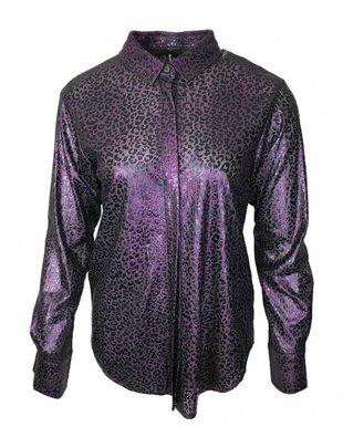 Elli White Violet Shimmery Leopard Blouse