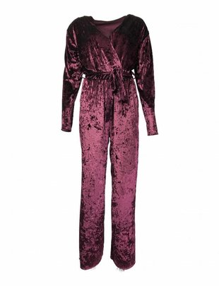 Tyrian Purple Velvet Jumpsuit