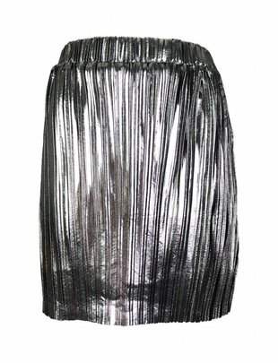 Pleated Sparkle Skirt - Silver
