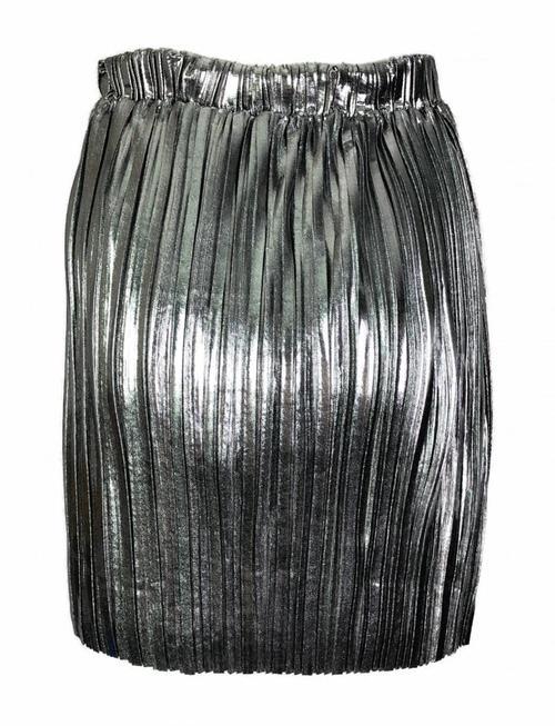 Pleated Sparkle Skirt - Silver