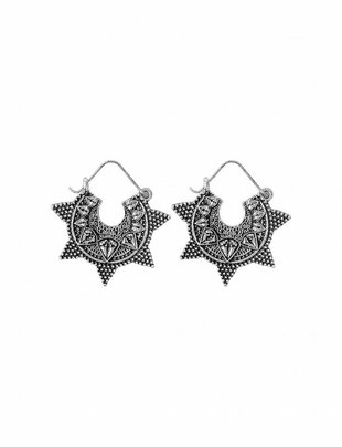 Indian Jhumka Star Earrings - Silver