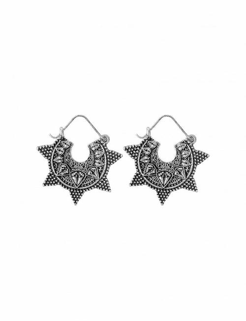 Indian Jhumka Star Earrings - Silver