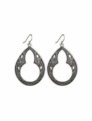 Art Nouveau Dangle Earrings - Silver