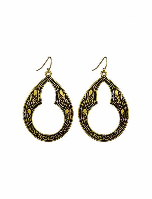 Art Nouveau Dangle Earrings - Gold
