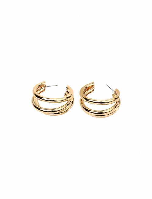 Triple Circular Tube Earrings - Gold