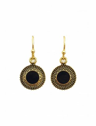 Antique Black Disc Earrings