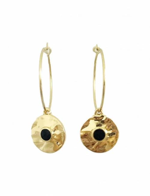 Hammered Disc Hoop Earring - Gold