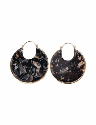 Resin Disc Earrings - Black Pearl