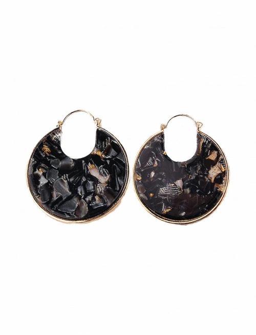 Resin Disc Earrings - Black Pearl