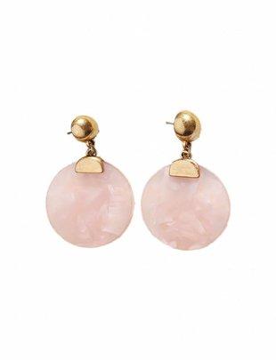 Resin Disc Earrings - Gold 'n Pink