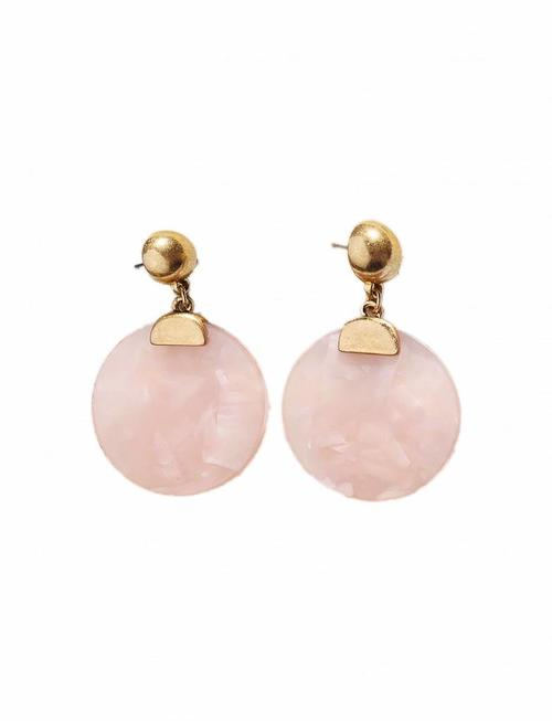 Resin Disc Earrings - Gold 'n Pink