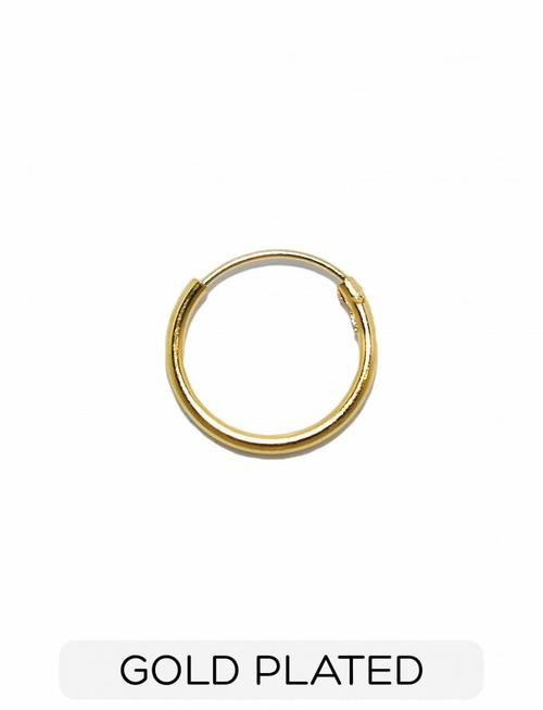 Sterling Silver - Minimal Small Hoop Earring - Gold Plated (p/s)
