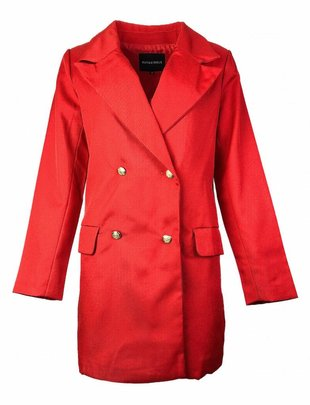 Rut&Circle Nora Red Havana Button Coat