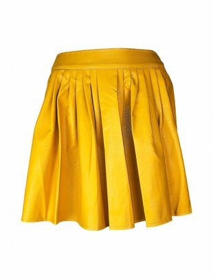 Ochre Yellow Vegan Leather Skirt