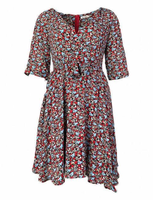 Red & Aqua Flower Bird Dress