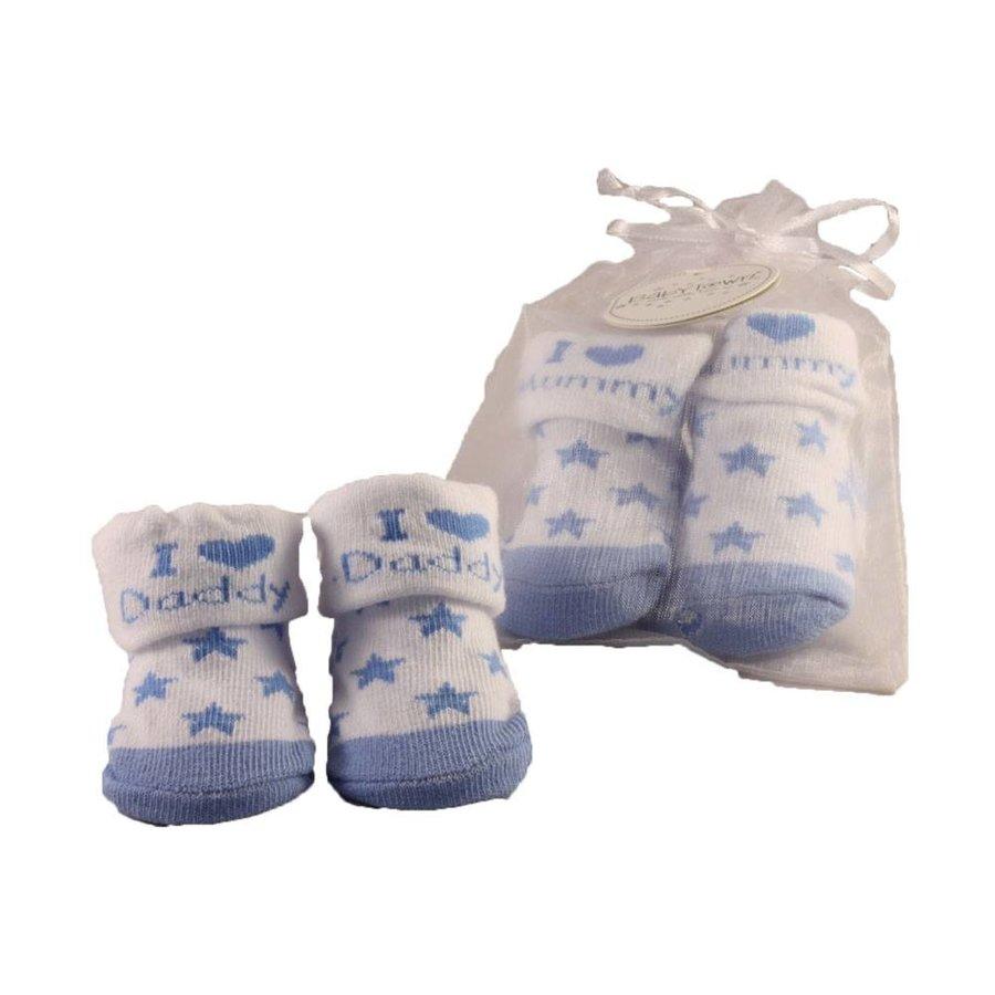 Sokjes I love my mummy / daddy blauw-1