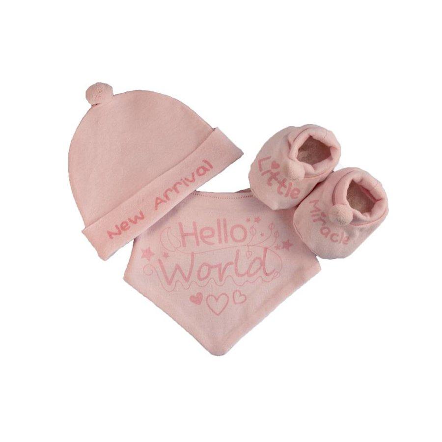 Geboortesetje Hello World roze-1