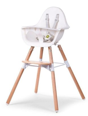 Childhome Childhome Evolu 2 Stoel Naturel/Wit 2 in 1 + Beugel