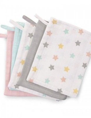 Childhome Childhome Washandje Tetra Set 3 Pastel + 2 Stars