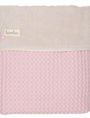 Koeka Koeka Wiegdeken Oslo Wafel/Teddy Old Pink/Pebble 75 x 100 cm