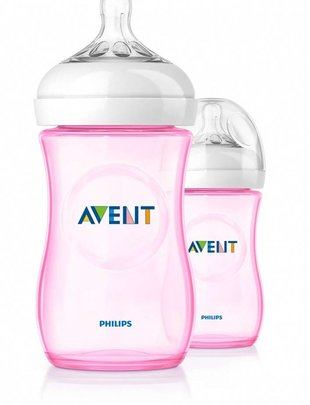 Avent Avent Natural Bottle Duo Pink 260 ml