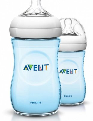 Avent Avent Natural Bottle Duo Set Blue 260 ml