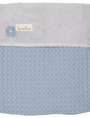 Koeka Koeka Wiegdeken Oslo Wafel/Teddy Blue/Silver Grey 75 x 100 cm