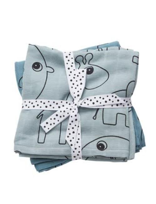 Done by Deer Done by Deer Burp Cloth 2-Pack Contour Blue