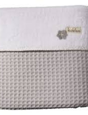 Koeka Koeka Wiegdeken Oslo Wafel/Teddy Silver Grey/White  75 x 100 cm