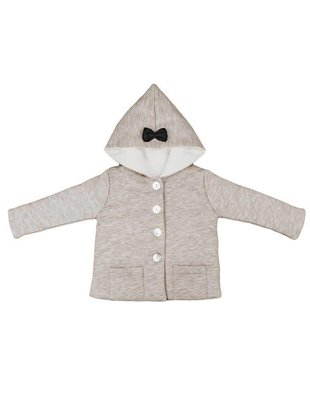 House of Jamie House of Jamie Bow Tie Hooded Jacket Stone