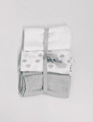 Béaba Absorba Tetradoeken set van 3 grijs + wolkjes