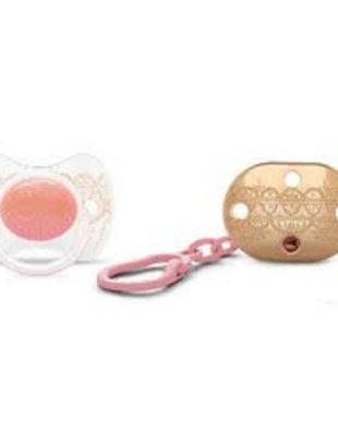 Suavinex Suavinex Haute Couture Fopspeen + Ketting Pink 4-18 m
