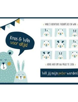 """Minimou Minimou Kraskaart """"Wil Jij Mijn Peter Worden""""?"""