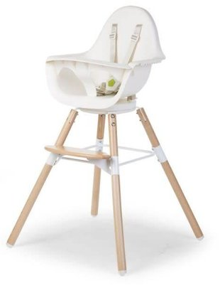 Childhome Childhome Evolu One Eetstoel 80° Naturel/Wit + Beugel