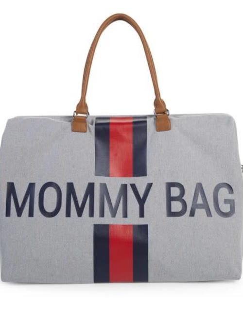 Childhome Childhome Mommy Bag Verzorgingstas - Grijs Strepen Rood/Blauw