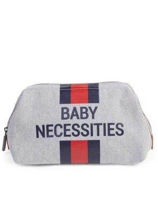 Childhome Childhome Toiletzakje Baby Necessities Canvas Grey Stripes Red/Blue