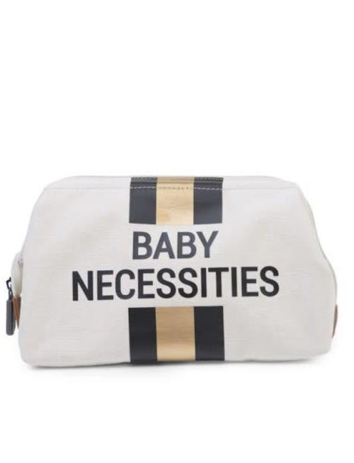 Childhome Childhome Toiletzakje Baby Necessities  Off White Stripes Black/Gold