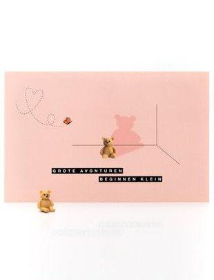 """Leuke Kaartjes Leuke Kaartjes Met Geluksbrenger Beertje """"Grote Avonturen beginnen klein Roze"""""""