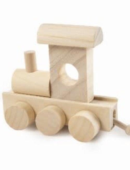 Houten Treinletter Naturel Locomotief