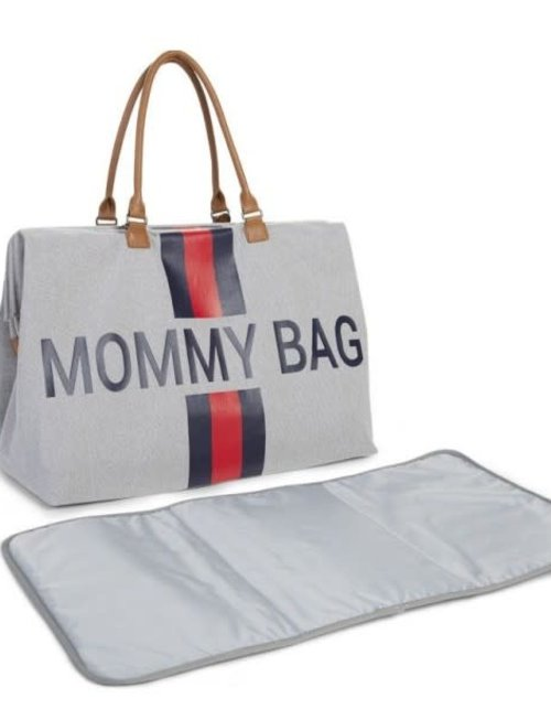 Childhome Childhome Mommy Bag Grey Stripes Red/Blue