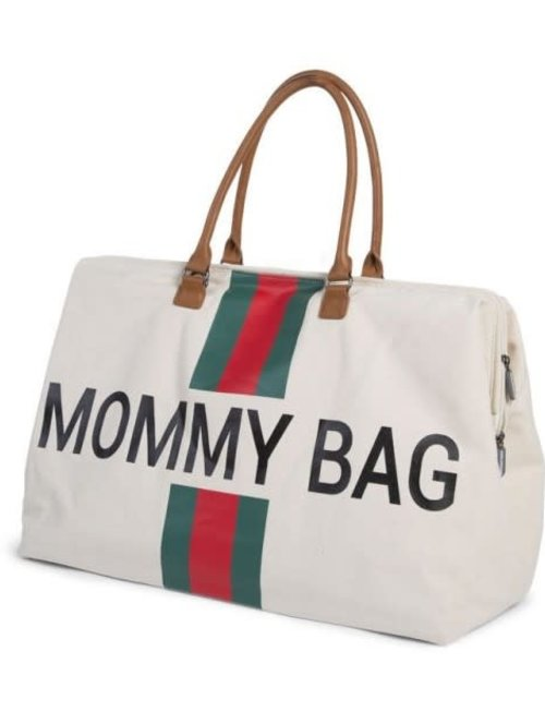 Childhome Childhome Mommy Bag White Stripes Green/Red