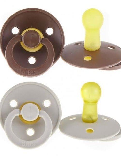 Bibs Bibs Fopspeen Latex 2 Stuks Chocolate/Sand T2 (6-18 m)